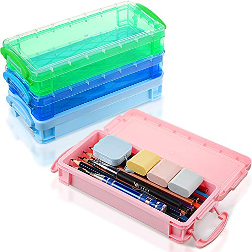 4 Pieces Plastic Pencil Boxes Utility School Storage Boxes Pencil Organizers Pen Pencil Plastic Cases with Snap-Tight Lid Large Capacity Pencil Boxes for Student (Pink, Blue, Clear Blue, Clear Green)