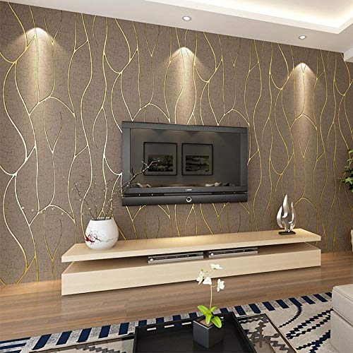 Agreey Papier peint de chambre à coucher 53cmx10m 3d Simplicité moderne  Buckskin en tissu non tissé Papier peint en peau de daim Salon Salle Tv  Fond ...