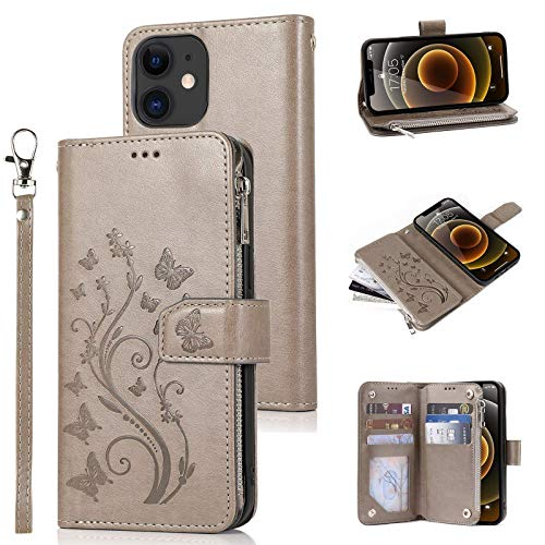 Funda de cuero para iPhone 11 moda cremallera cartera caso para mujeres niñas con relieve mariposa flor titular de la tarjeta Kickstand Lanyard Flip Case