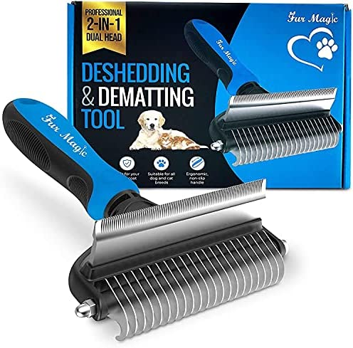 HLD 2 Sided Pet Deshedding Tool, Pet Grooming Brush For Deshedding, Mats And Tangles Removing For Dogs And Cats With Long, Medium And Short Hair Pet brush (Color : Blue)