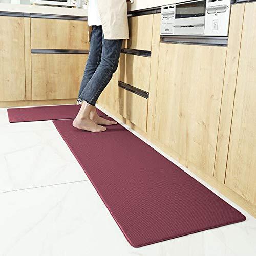 WJQQ Küchen-Anti-Ermüdungsmatte, Ergonomische Komfort-Stehmatte, rutschfest Küchenteppich, pflegeleicht, zur Förderung des Komforts zu Hause und im BüroRed
