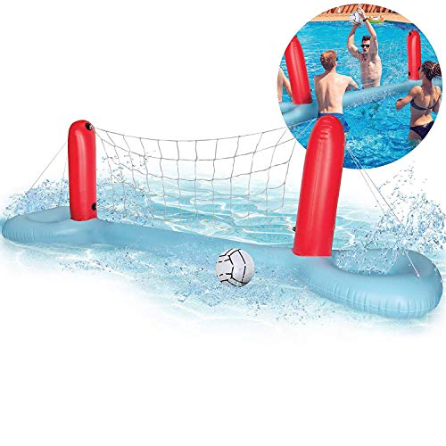 Vividy Inflatable Pool Volleyball Game Set with Adjustable Net and 1 Balls for Adults & Teens - Best Pool Party Game for Tournaments, Splashing Good Time, Serve Up Fun in The Sun