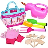 Lorfancy Kids Garden Tools Toddler Unicorn Watering Can Tote Bag Shovels Gloves Stakes Gardening kit Preschool Backyard Outdoor Toys