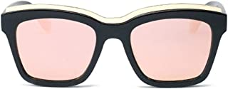 Fashion Metal Eyebrows Personality Glasses UV400 Protection Color Lens Women's Fashion Black Square Frame Polarized Sunglasses Retro (Color : Pink)