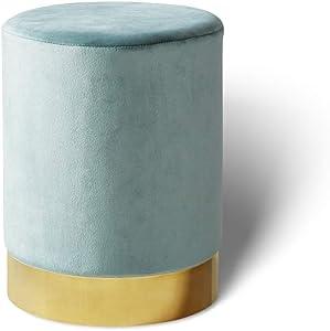 LIFA LIVING Pouf poggiapiedi in Velluto | Sgabello ottomana | Puff cilindrico con Base Oro in Metallo | per Salotto e Camera da Letto | Diverse Misure e Colori (Verde Acqua, 30 x 38 cm)