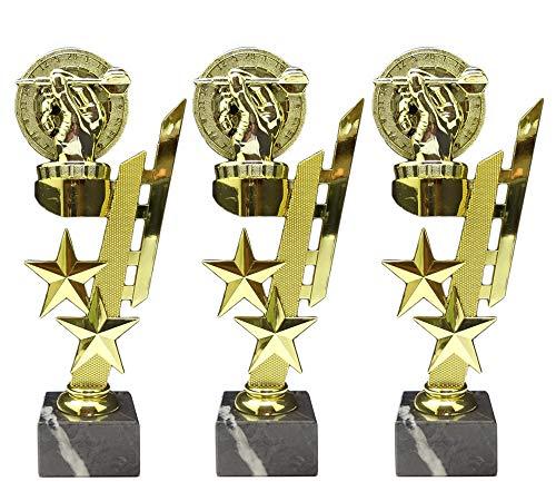 RaRu 3 Dart-Pokale (Sternenhalter) mit Ihrer Wunschgravur