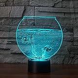 FUTYE Lámpara visual 3D LED de ilusión óptica de luz nocturna para niños Acuario lámpara 7 colores Fish Bowl lámpara de mesa Inicio con pilas de dibujos animados 7 colores luz óptica niños dormitorio