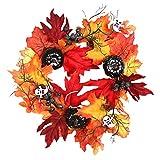VijTIAN - Ghirlanda di Halloween fatta a mano con zucca nera bianca, fantasma, foglia d'acero, da appendere alla parete, adatta per interni o esterni coperti