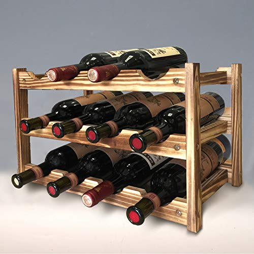 KALINCO Wine Rack, Bamboo 12 Bottles 3-Tier Wine Display Rack for Countertop Pantry, Free Standing Wine Storage, Rack Tabletop Wine for Home Kitchen Bar Cabinets Rack (Nature)