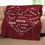 Personalized Name Blankets for Baby, Kids and Adults, Mom, Grandma. Custom Name Blanket from Your Names. Close to Heart Customized Throw. Gift for Mothers Day, Christmas (Burgundy, Fleece 50' x 60')