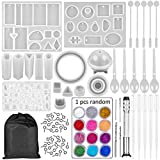 SJ 83 Pieces Resin Casting Molds and Tools Set with A Black Storage Bag, DIY Silicone Resin Molds for DIY...