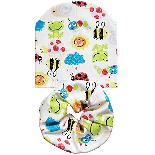 Animal Set sjaal muts voor baby's in de winter herfst katoen bedrukte mutsen voor baby's jongens sjaal kraag kinderen beanie cap cilinder