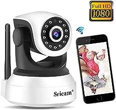 Cámara WiFi Vigilancia Sricam SP017, Cámara IP 1080P Bebe Interior HD Inalámbrica con Visión Nocturna, Audio Bidireccional, Detección de Movimiento, Compatible con iOS Android Windows PC