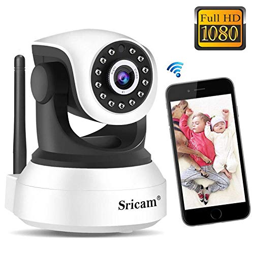 Cámara WiFi Vigilancia Sricam SP017, Cámara IP 1080P Bebe Interior HD Inalámbrica con Visión Nocturna, Audio Bidireccional, Detección de Movimiento, Compatible con iOS Android Windows PC