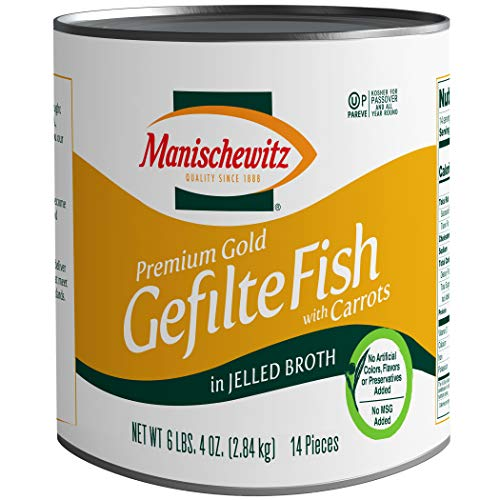 Manischewitz Premium Gold Gefilte Fish, (14 Pieces) in Jelled Broth, No MSG, Kosher for Passover