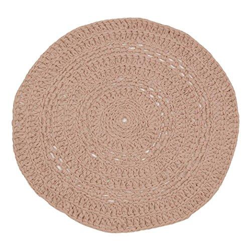 Naco trade Peony Chalky Pastel gehaakte tapijt, medium, poeder roos, 40 x 40 x 10 cm