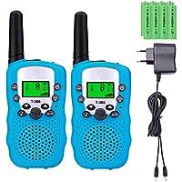 Sigdio Walkie Talkies Niños PMR446 con 8 Piezas Baterías Recargable y Cargador 8 Canales Función VOX LCD Pantalla 10 Tonos Linterna Incorporado Walky Talky (Azul, 1 Par)
