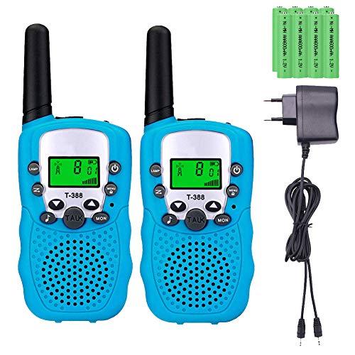Sigdio T-388 Walkie Talkie Bambini con Batterie Ricaricabili e Caricabatterie Walky Talky per Bambini Torcia VOX 8 Canali PMR446 Woki Toki Bambini Giocattoli per Bambini (Blu, 8 batteries)