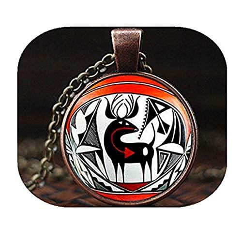 Collar indio americano nativo, colgante de arte de ciervo indio americano, joyería del suroeste, collar étnico tribal bohemio, collar de hombre, collar m197