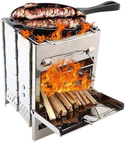 Estufa de Camping Estufas de leña Estufa Plegable de Acero Inoxidable para mochileros Picnic BBQ Campamento Senderismo