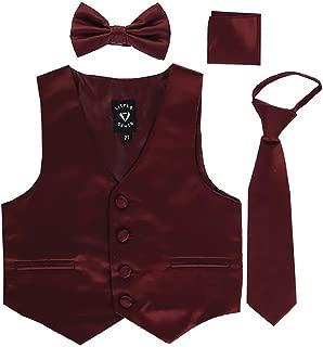 iGirldress Boys 4 Piece Formal Satin Vest Set Zipper Tie Bowtie Hanky