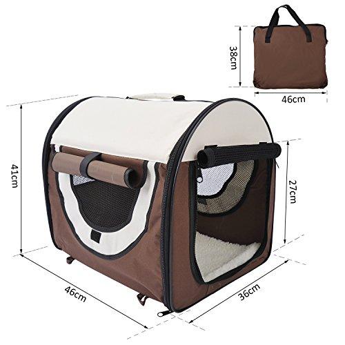 PawHut D1-0100 faltbare Transportbox für Haustier, kaffeebraun/creme - 6