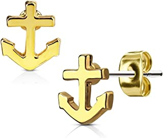 Pierced Owl Nautical Anchor Post Earring Studs in 316L Surgical Steel