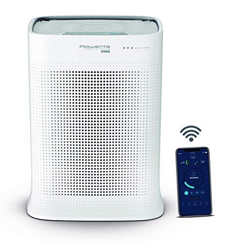 Rowenta PU3080 Luftreiniger Pure Air Genius, Extrem leise, Steuerung per App, Vorbeugung gegen Allagene, Automatische Anpassung, 4 Filterstufen, Luftwäscher, Partikelfilter [E: A], für 140 m² Räume