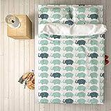 Juego de ropa de cama de 3 piezas práctico para decoración de elefantes, juego de funda nórdica, lindos elefantes que soplan gotas de agua y pequeños corazones fuera de los baúles para interiores