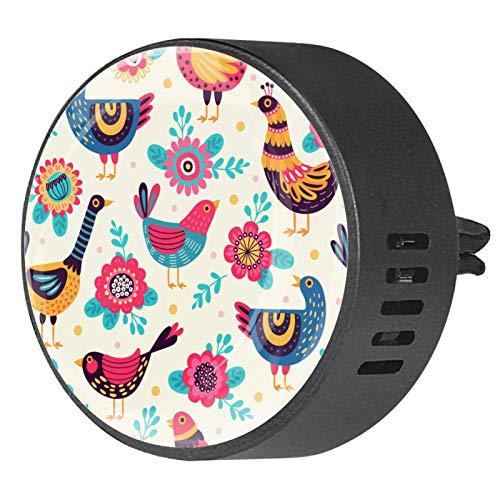 BestIdeas 2 clips de ventilación ambientadores de coche con diseño retro de gallo de pollo floral, difusor de aceites esenciales de aromaterapia