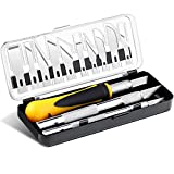 16 Pieces Precision Craft Hobby Knife Set Razor Pointed Knives for Architecture Modeling Scrapbooking Felt Wood Leather Working Stencil Fine Point Scoring Chiseling Blades