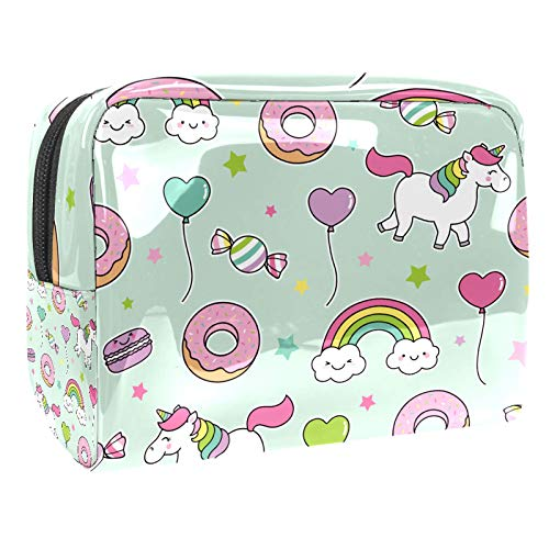Portable Makeup Bag with Zipper Travel Toiletry Bag for Women Handy Storage Cosmetic Pouch Cartoon Unicorn Horse Rainbow Donuts Candy