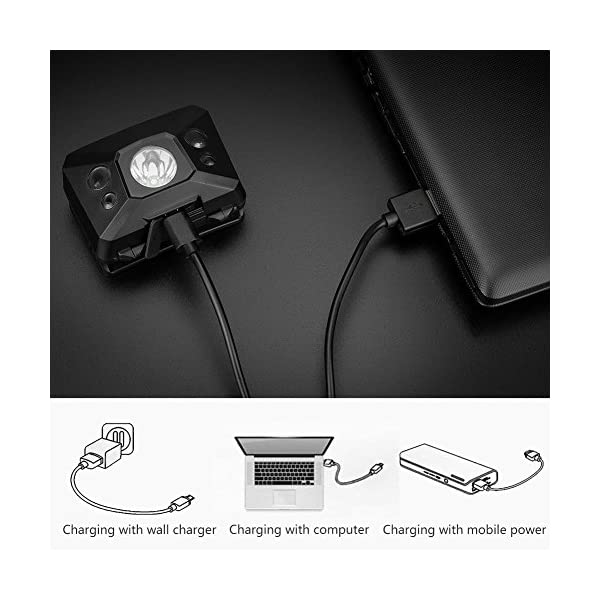 Coquimbo LED Linterna Frontal USB recargable 5 Modos Lampára de cabeza Luz Super Brillante 360 Grados Ajustables para… 2