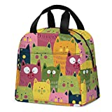 Cat Lunch Bag, Kids Cute Lunch Boxes Durable Insulated Cooler Tote Bag with Front Pocket for Women Girls Boys School Work Outdoor Picnic Beach Travel (Green)