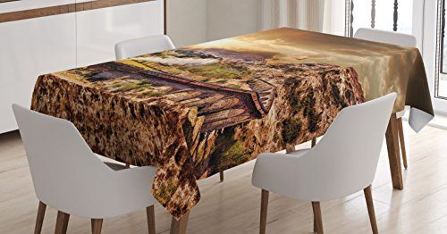 Ambesonne Wizard Tablecloth, Hogwart Express Famous Train Landscape Glenfinnan Railway Viaduct in Scotland Sunset, Dining Room Kitchen Rectangular Table Cover, 60' X 90', Brown