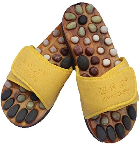 XHDMJ Portable Healthcare Natural Cobblestone Foot Massage Pebble Massage Slippers Plantar Acupuncture Points Shoes,Yellow,38,Yellow,39