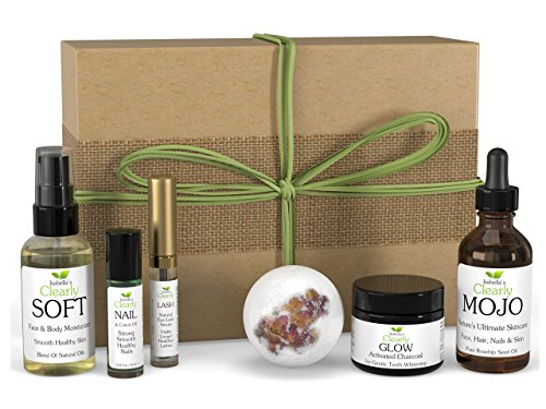 Clearly FLAWLESS Clean Beauty Box, Gift for Her, Bath Bomb, Teeth Whitening Charcoal, Eyelash Growth Serum, Rosehip Face Oil, Nail Cuticle Oil, Body Oil. Best All Natural Skin Care. USA.