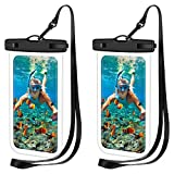 LANQI 2 Pcs Universal Waterproof Phone Pouch,Waterproof Case, Underwater Dry Bags for iPhone 12/12 Pro/11 Pro Max/XR/SE/XS/8 7 6S Plus, Samsung Galaxy, and Other Phones Up to 6.9''-Black