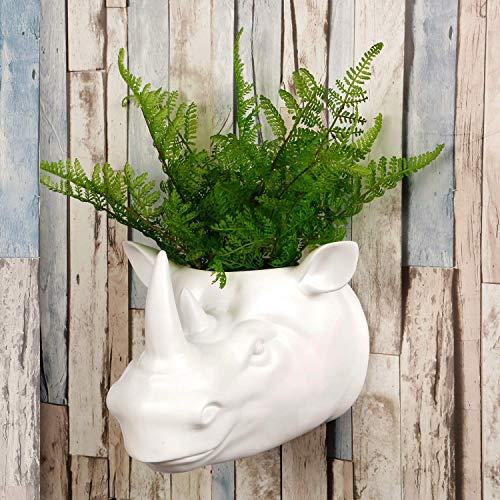 WALPLUS 2 en 1 decoración de jardín maceta colgante de pared cabeza de taxidermia sintética para decoración de pared, réplica de animales, decoración de arte, regalo de rinoceronte blanco
