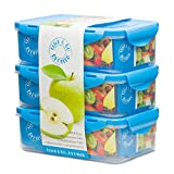 Blue Toddler Lunch Box – 3 Lunch Boxes for Kids – Bento Box – Removable Compartment Food Containers – BPA Free – Ideal Baby Snack Container – Child Friendly Snap Lock Lids – Leakproof