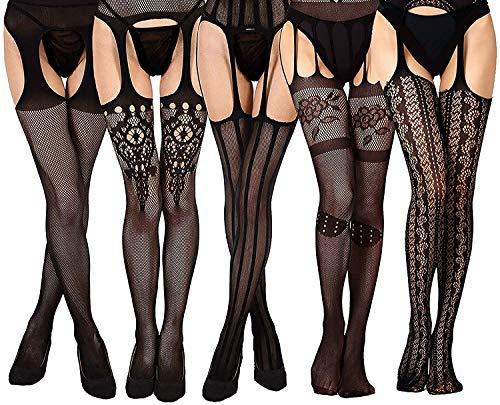 5 Paar Reizvolle Strapsen Strümpfe mit gürtel Damen sexy Schwarz Dessous halterlose Netzstrümpfe Netzstrumpfhose MEHRWEG