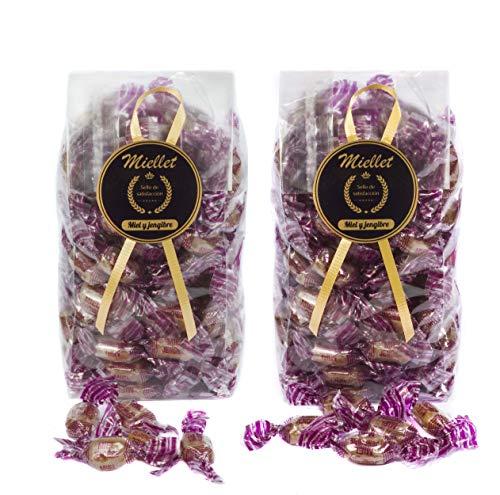 500 gr (PACK 2 BOLSAS x 250 gr) - Miellet - Miel & Jengibre - Caramelos artesanales con miel de origen español. Suaviza la garganta y contiene propiedades antisépticas. SIN GLUTEN