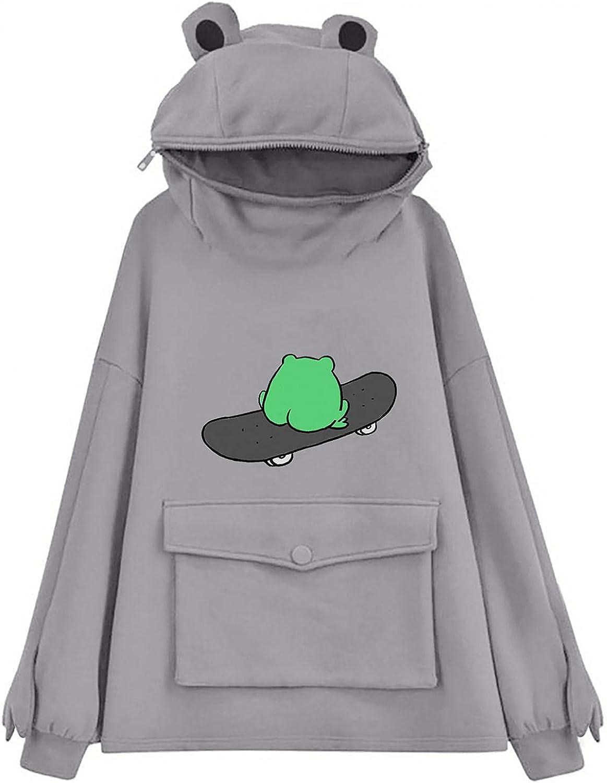 Hotkey Women's Hoodies Pullover, Womens Novelty Zipper Hoodie Cute Frog Animal Shape Hooded Sweatshirt with Front Pocket