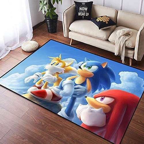 Coobal So-nic The Hedgehog - Alfombra grande para suelo de yoga, sala de estar, para niños, dormitorio, 3 x 5 pies (90 x 150 cm)