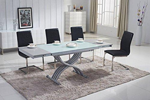Mobilier Deco - Tavolino basso, sollevabile, in vetro, con estensione (tavolo trasformabile)