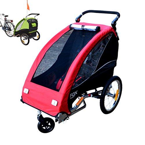 Papilioshop Fox Radanhänger für 1Kind, Vorderrad drehbar, Kinderanhänger für das Fahrrad, klappbarer Anhänger mit Türöffnung, rot