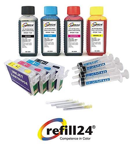 Kit de Recarga para Cartuchos de Tinta Compatible con Epson T1281-T1284 Negro y Color + Cartuchos Recargables y Accesorios + 400 ML Tinta
