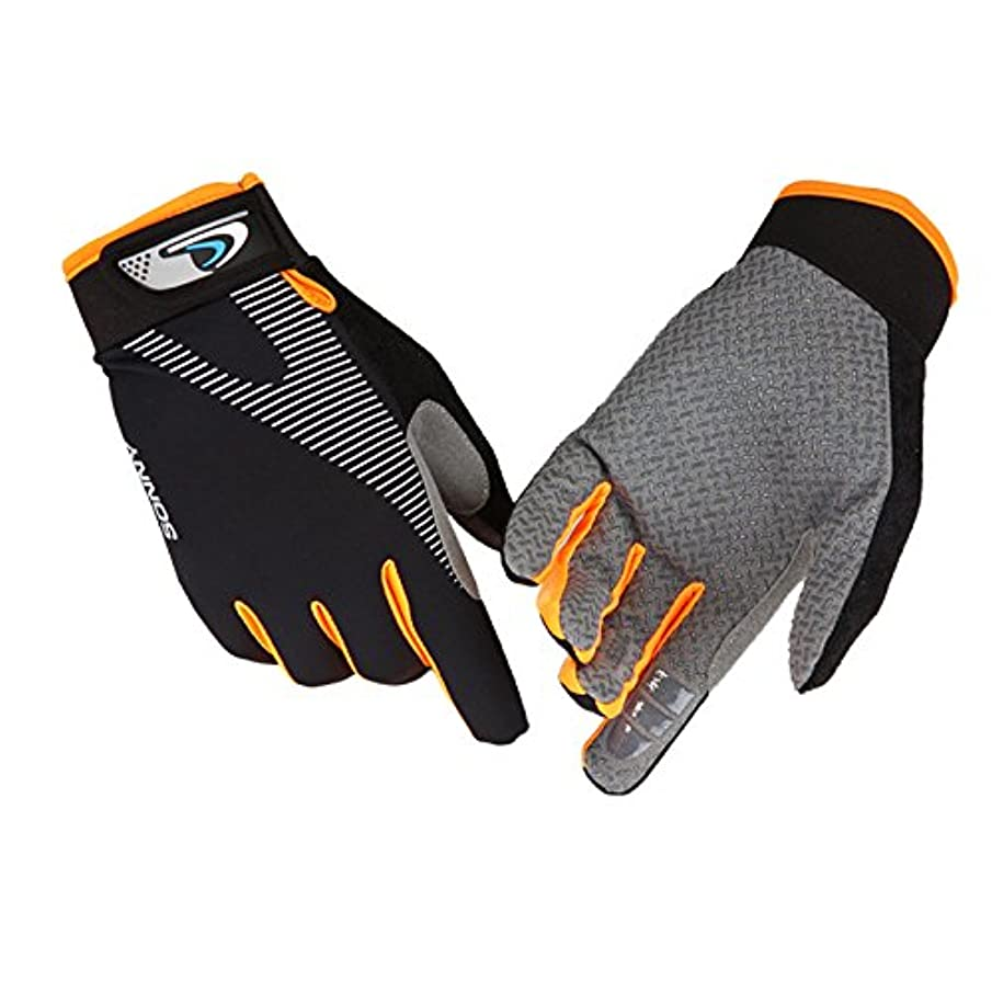 TINKSKY Cycling Nonslip Full Fingers Gloves Mountain Bike Gloves Road Racing Bicycle Gloves for Outdoor Tactical Riding Sports Size L (Black Orange)
