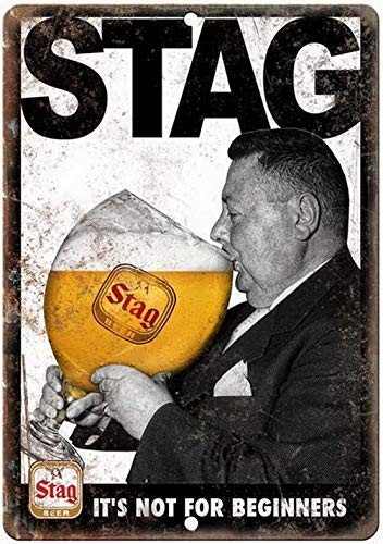 DKISEE Stag Beer Not for Beginners Vintage Ad Vintage Metal Tin Signs Beeres Indoor or Outdoor Use, UV Protected and Fade-Resistant Decorative Sign 12x18 inches