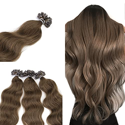 """Neitsi 20"""" 25s/lot 1g/s 100% Remy Human Hair Nail Chestnut Brown U Tip Hair Extension Natural Wave (6#)"""